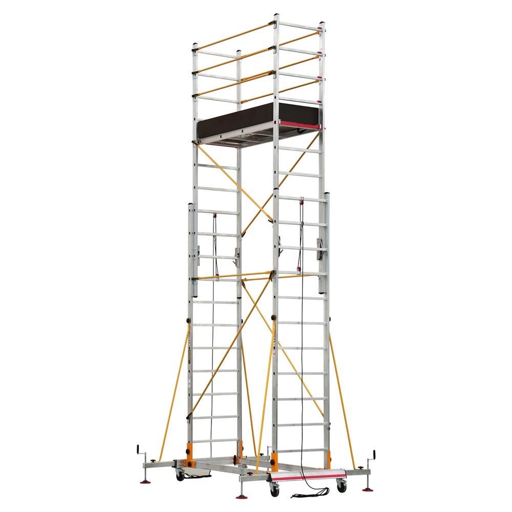 Dvodelna pokretna aluminijumska skela S004XL postavljena za rad